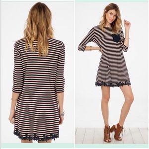 NWT burgundy and navy stripes dress